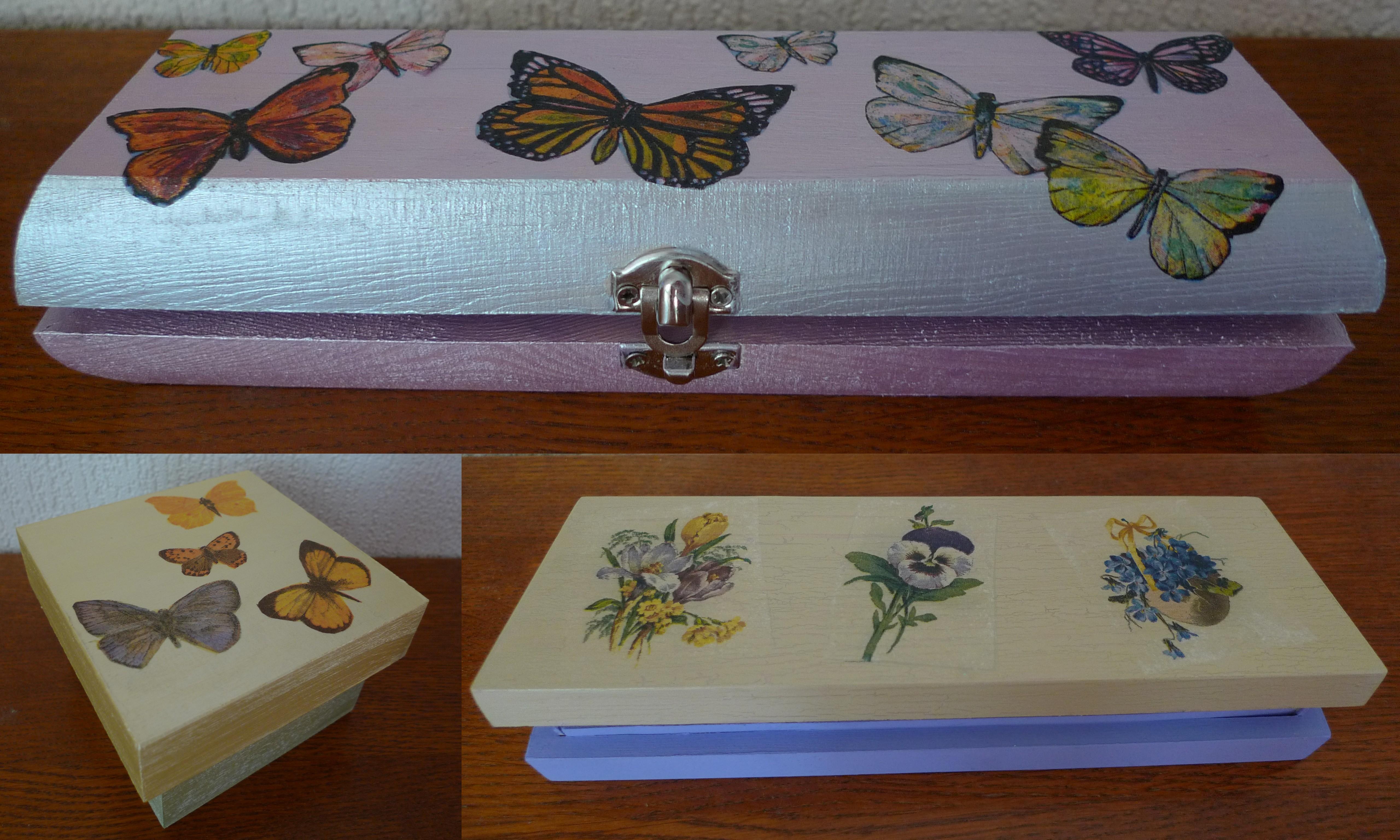 collage serviette boites papillons fleurs