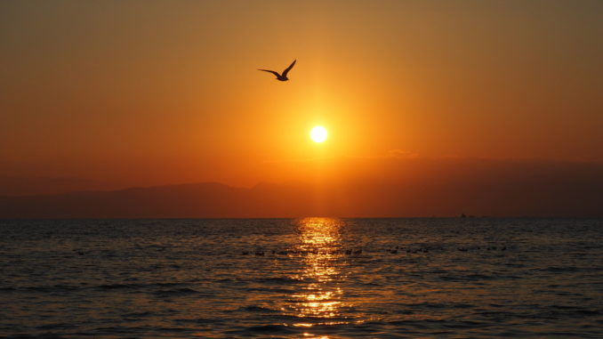 coucher de soleil océan enoshima
